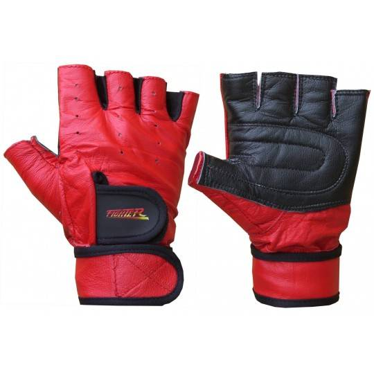Rękawiczki kulturystyczne skórzane FIGHTER czerwone FIGHTER - 1 | klubfitness.pl | sprzęt sportowy sport equipment