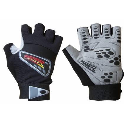 Rękawiczki kulturystyczne skórzane FIGHTER szare,producent: FIGHTER, photo: 1
