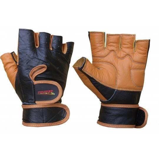 Rękawiczki kulturystyczne skórzane FIGHTER pomarańczowe,producent: FIGHTER, photo: 1