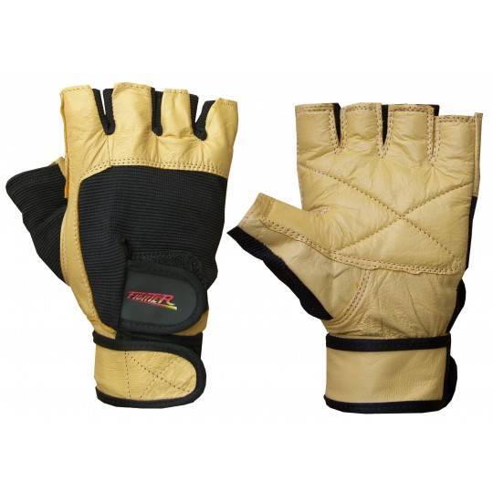 Rękawiczki kulturystyczne skórzane F4 FIGHTER żółte,producent: FIGHTER, photo: 1