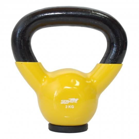 Hantla winylowa kettlebell  STAYER SPORT 2 kg z gumową podstawą- żółta,producent: STAYER SPORT, photo: 1