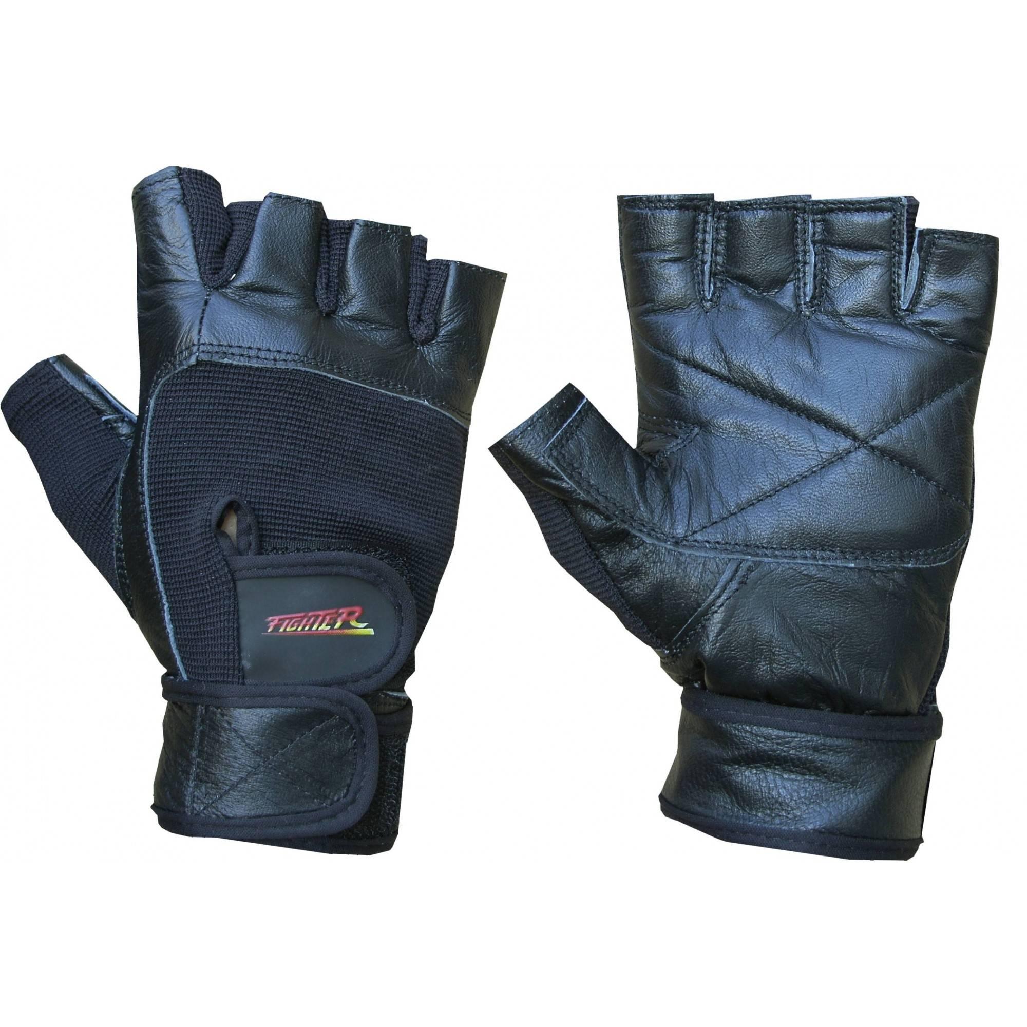 Rękawiczki kulturystyczne skórzane F5 FIGHTER czarne FIGHTER - 1 | klubfitness.pl | sprzęt sportowy sport equipment