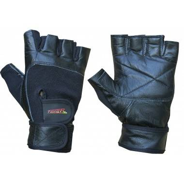Rękawiczki kulturystyczne skórzane F5 FIGHTER czarne,producent: FIGHTER, photo: 1