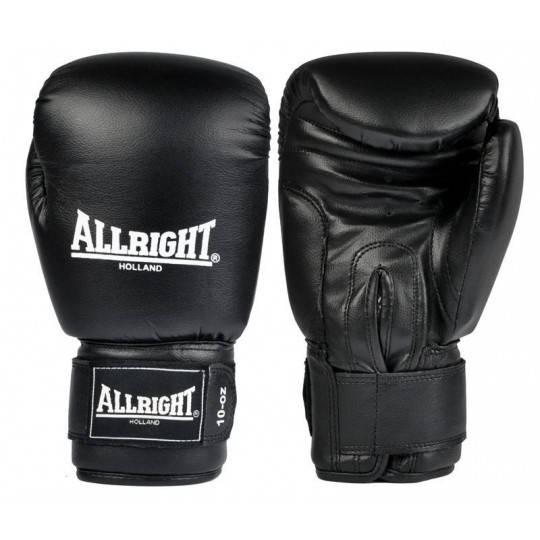 Rękawice bokserskie czarne 14 oz ALLRIGHT skóra naturalna  - 1