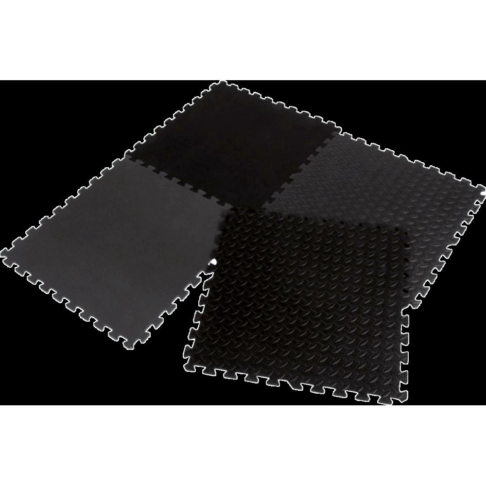 Mata amortyzująca puzzle EB Fit 61x61cm 12mm | 4 puzzle black EB FIT - 1 | klubfitness.pl | sprzęt sportowy sport equipment