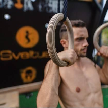 Drewniane koła gimnastyczne z taśmą Sveltus | średnica 23.5cm | taśmy 400cm Sveltus - 4 | klubfitness.pl