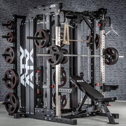 Brama z suwnicą Smith'a wyciągiem 125kg & stacją dip ATX® SCR-760-KPS-SW | brama 2x55kg ATX® - 3 | klubfitness.pl