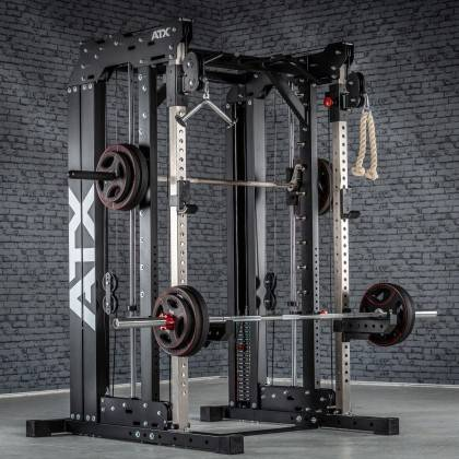 Brama z suwnicą Smith'a wyciągiem 125kg & stacją dip ATX® SCR-760-KPS-SW | brama 2x55kg ATX® - 16 | klubfitness.pl