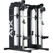 Brama z suwnicą Smith'a wyciągiem 125kg & stacją dip ATX® SCR-760-KPS-SW | brama 2x55kg ATX® - 18 | klubfitness.pl