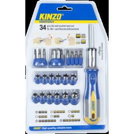 Śrubokręt wielofunkcyjny Kinzo 54200 | bit & socket 34el. Kinzo - 1 | klubfitness.pl