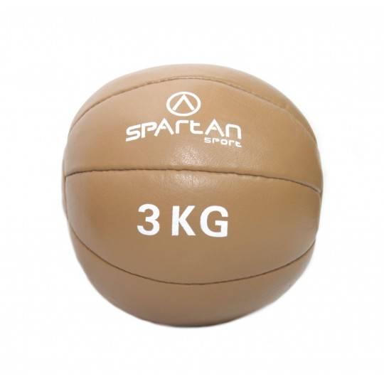 Piłka lekarska 3kg Spartan Sport   naturalna skóra SPARTAN SPORT - 1   klubfitness.pl