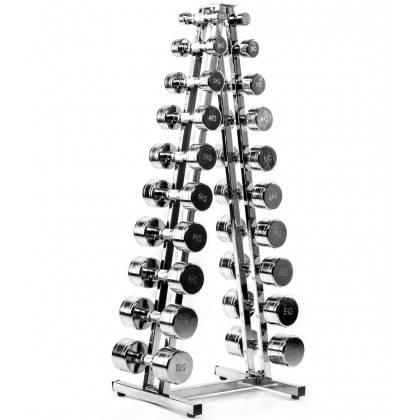 Zestaw hantli Ironsports® 1kg÷10kg ze stojakiem R-3001 | 10par chrom IRONSPORTS - 1 | klubfitness.pl