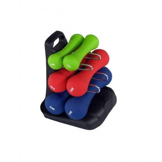Zestaw hantli neoprenowych fitness ze stojakiem SPARTAN SPORT 2x 1kg, 2x 2kg, 2x 3kg,producent: SPARTAN SPORT, zdjecie photo: 1