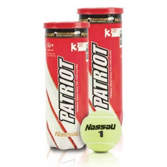 Piłka do tenisa ziemnego w tubie 3 szt NASSAU PATRIOT z ITTF,producent: NASSAU, photo: 1