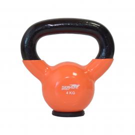 Hantla winylowa kettlebell  STAYER SPORT 4 kg z gumową podstawą- pomarańczowa,producent: Stayer Sport, zdjecie photo: 1 | online