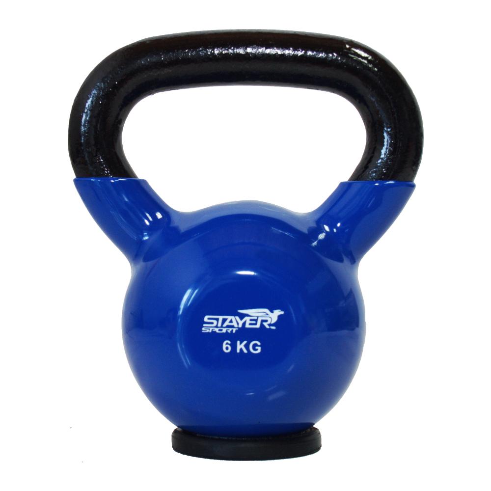 Hantla winylowa kettlebell Stayer Sport 6 kg z gumową podstawą - niebieska,producent: Stayer Sport, zdjecie photo: 1 | online sh