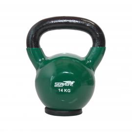 Hantla winylowa kettlebell STAYER SPORT 14 kg z gumową podstawą- zielona Stayer Sport - 1 | klubfitness.pl | sprzęt sportowy spo