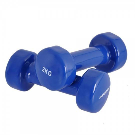Zestaw hantli fitness INSPORTLINE z powłoką winylową 2x2kg niebieskie Insportline - 1 | klubfitness.pl