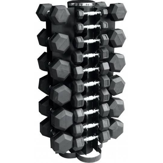 Zestaw hantli gumowanych Hex ze stojakiem Stayer Sport 1 - 10 kg + 12-5 - 20 kg,producent: Stayer Sport, zdjecie photo: 1 | onli