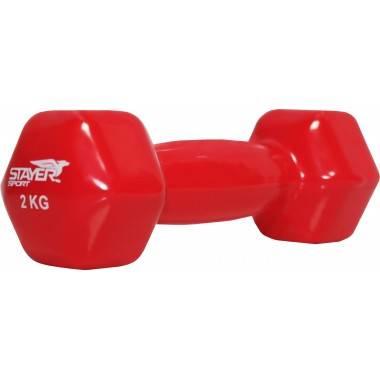 Hantla fitness winylowa 2 kg HEX STAYER SPORT czerwona,producent: STAYER SPORT, photo: 2