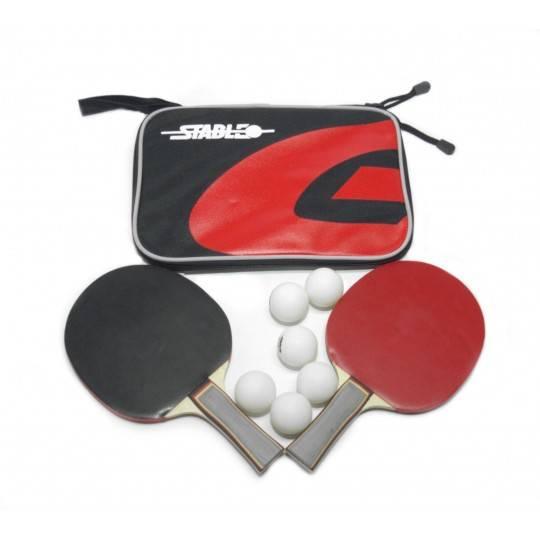 Zestaw do gry w tenisa stołowego STABLE dwie rakietki, sześć piłeczek i pokrowiec Stable - 1 | klubfitness.pl