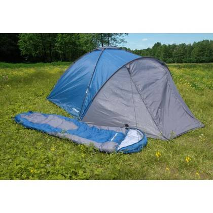 Namiot turystyczny czteroosobowy DUNLOP dwuwarstwowy niebiesko-szary Dunlop - 8 | klubfitness.pl