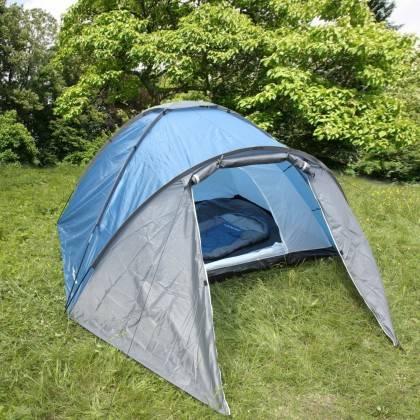 Namiot turystyczny czteroosobowy DUNLOP dwuwarstwowy niebiesko-szary Dunlop - 10 | klubfitness.pl