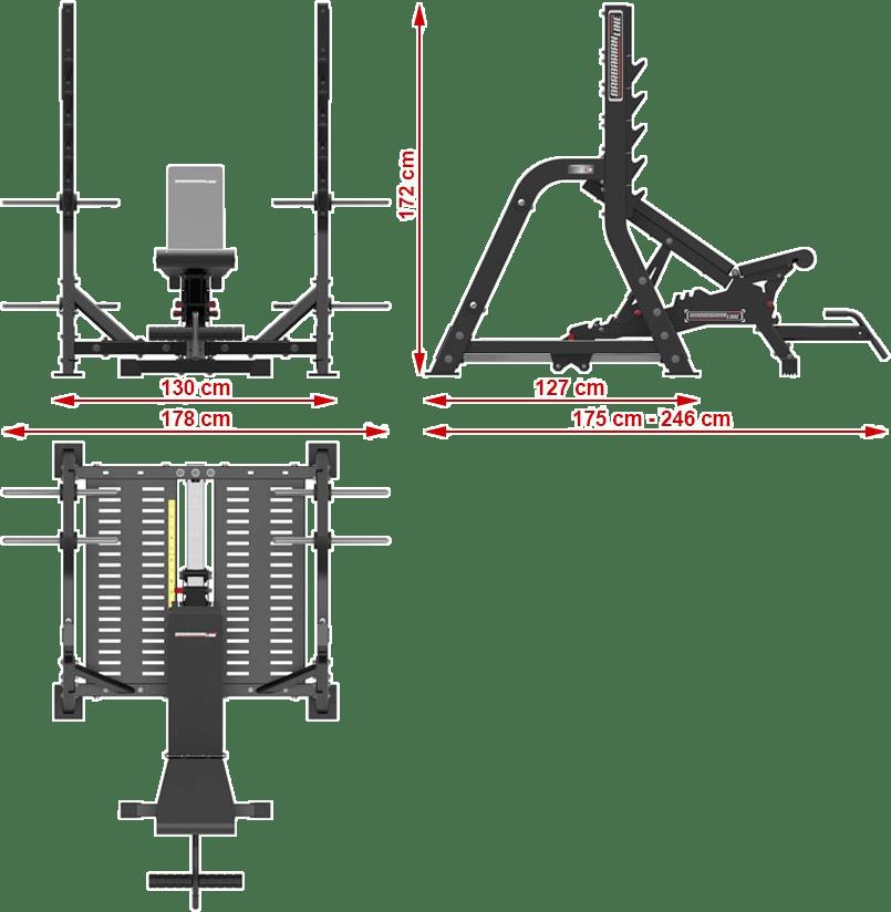 Profesjonalna ławka pod sztangę Barbarian Line BB-9063 | wymiary gabarytowe