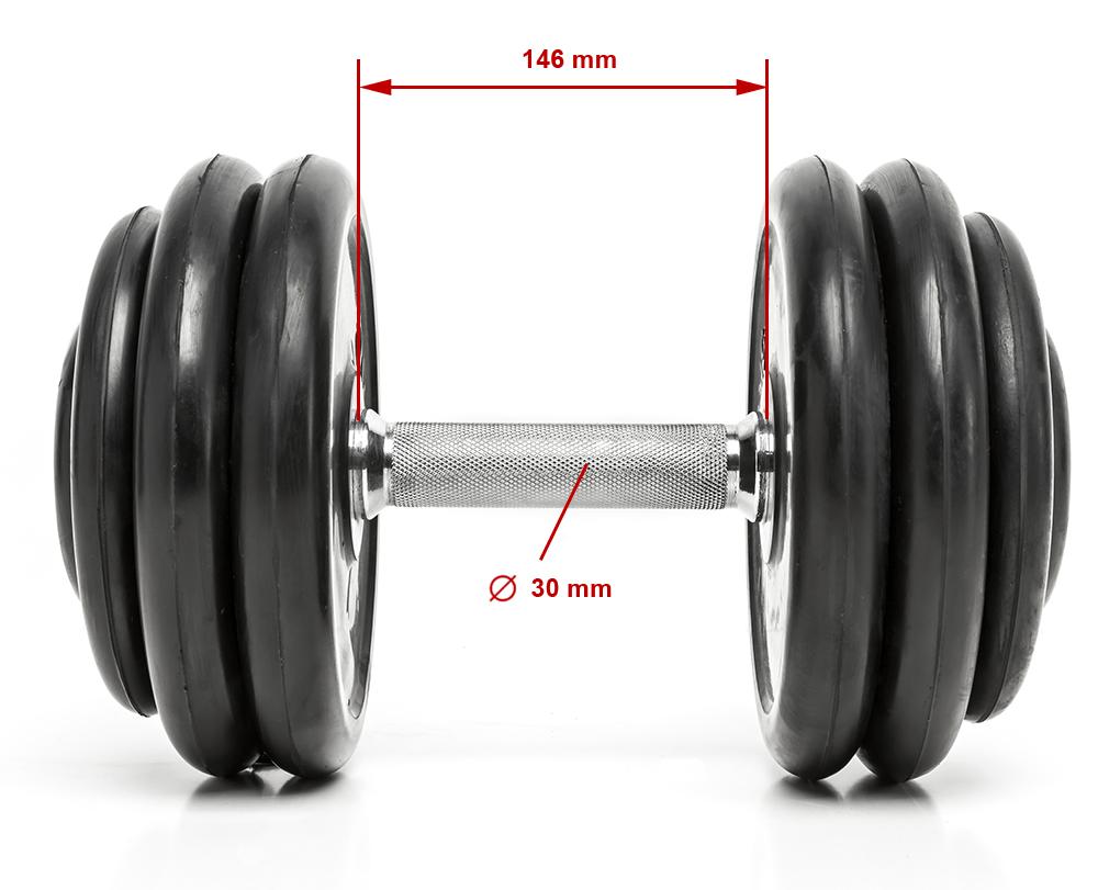 CHD-R | podstawowe wymiary gabarytowe hantli stałej w gumie