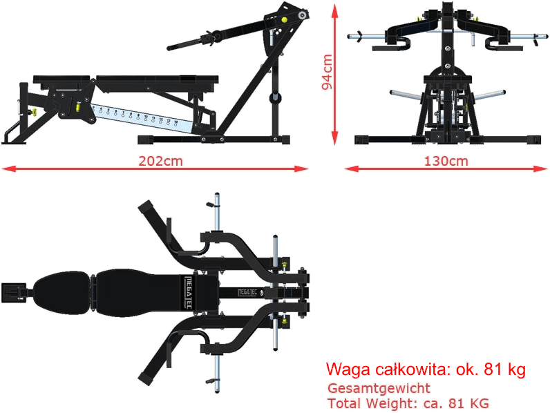 MT-LA-MP-20 MegaTec | wymiary gabarytowe ławki na wolne obciążenia