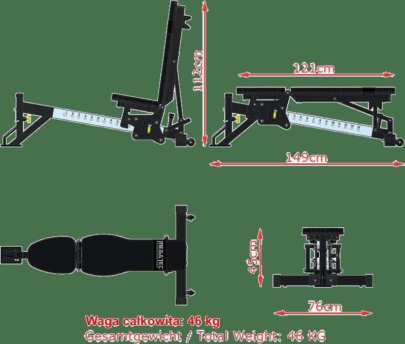 Wymiary gabarytowe ławki treningowej MegaTec MT-MB-10