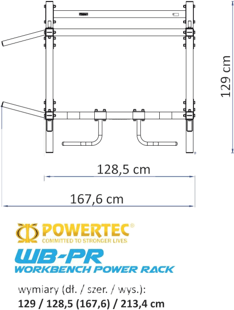 WB-PR15-B Powertec | wymiary gabarytowe