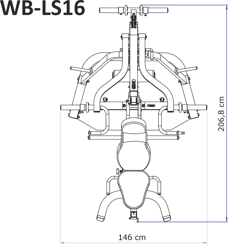 Wymiary gabarytowe atlasu Powertec WB-LS16