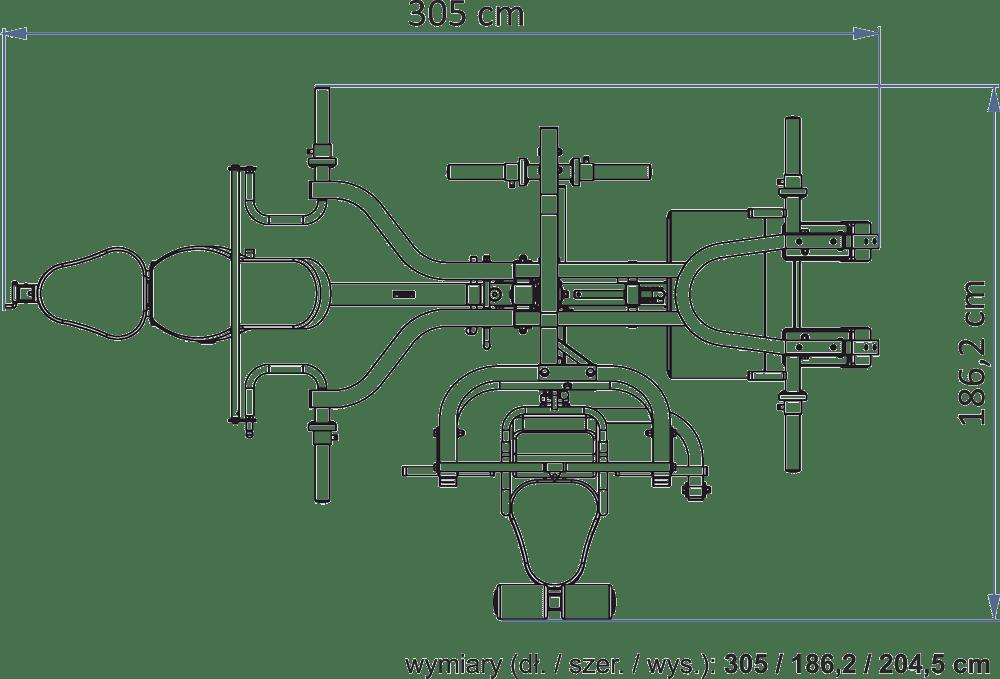 Atlas na wolne obciążenia | Powertec WB-MS16-BB wymiary