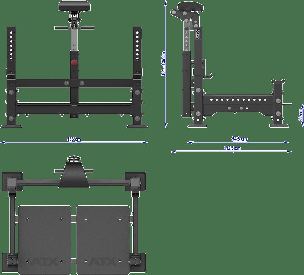 ATX-BRR Barbell Row Rack   wymiary