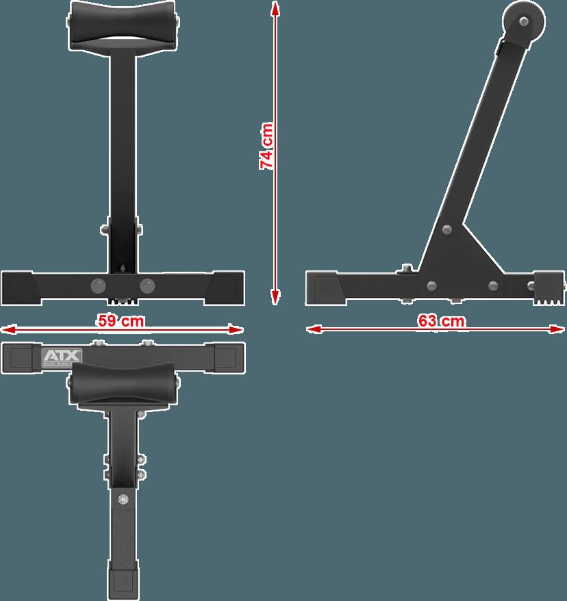 Wymiary gabarytowe podpory ATX-TRB