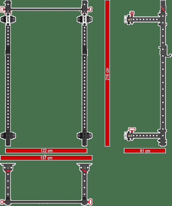 ATX-FBR-750 | składana brama half rack do montażu na ścianie | wymiary