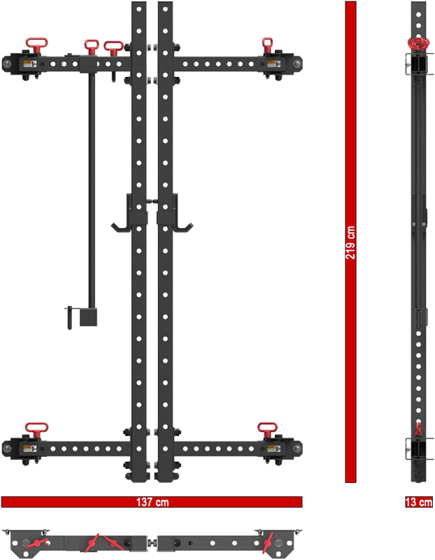 ATX-FBR-750 | składana brama half rack do montażu na ścianie | wymiary po złożeniu