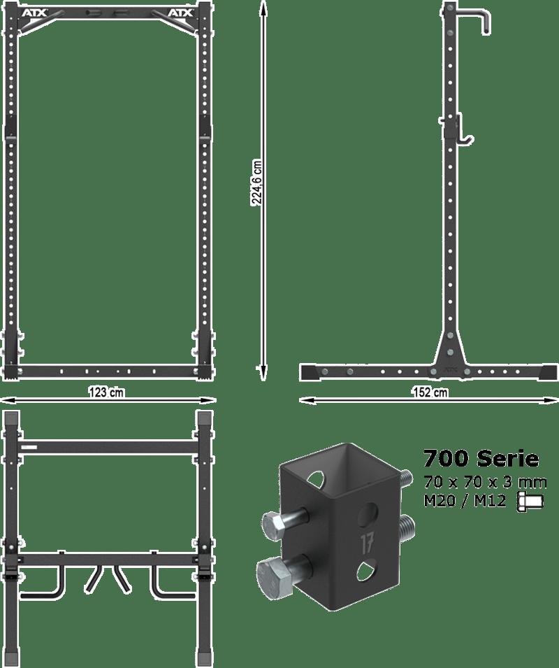 Brama Half Rack ATX-HRX-750 | wymiary gabarytowe