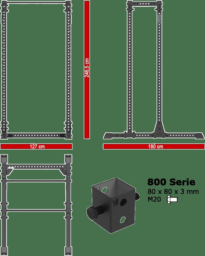 Brama Half Rack ATX-HRX-810-EXT | wymiary gabarytowe