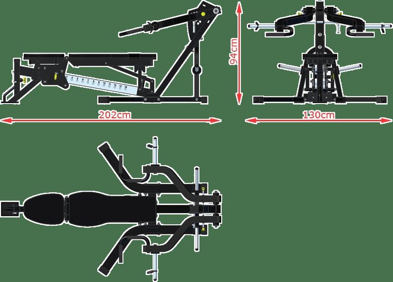 Ławka z izolowanymi ramionami ATX-LMP-650 | wymiary gabarytowe