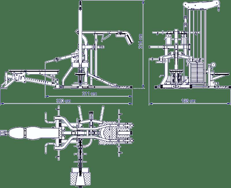 ATX-MSX-690 Multiplex | atlas treningowy | wymiary gabarytowe