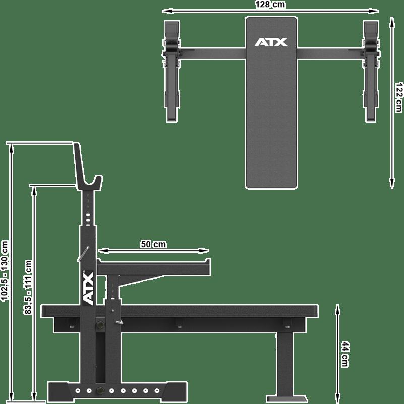 Wymiary gabarytowe ławki pod sztangę ATX-OBX-700