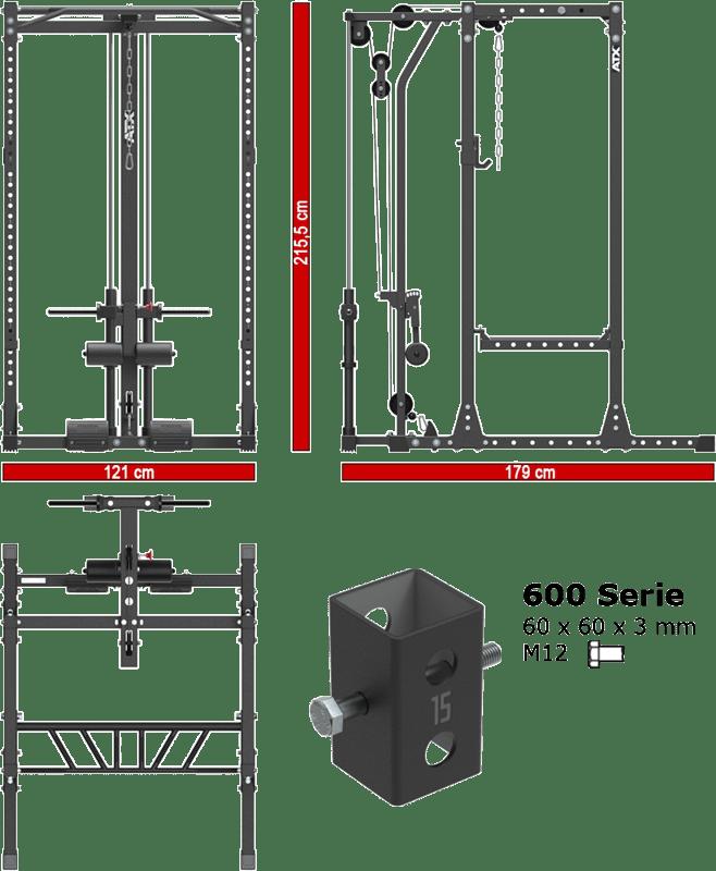 ATX-PRX-650-LTO-650-PL | stacja treningowa z wyciągiem linowym plate load