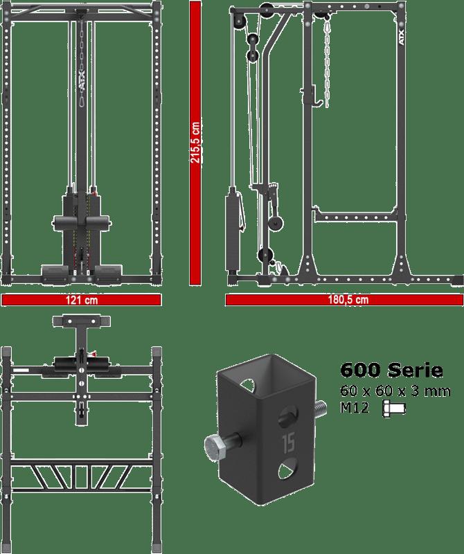 ATX-PRX-650-LTO-650-SW | stacja treningowa z wyciągiem linowym stos 115kg