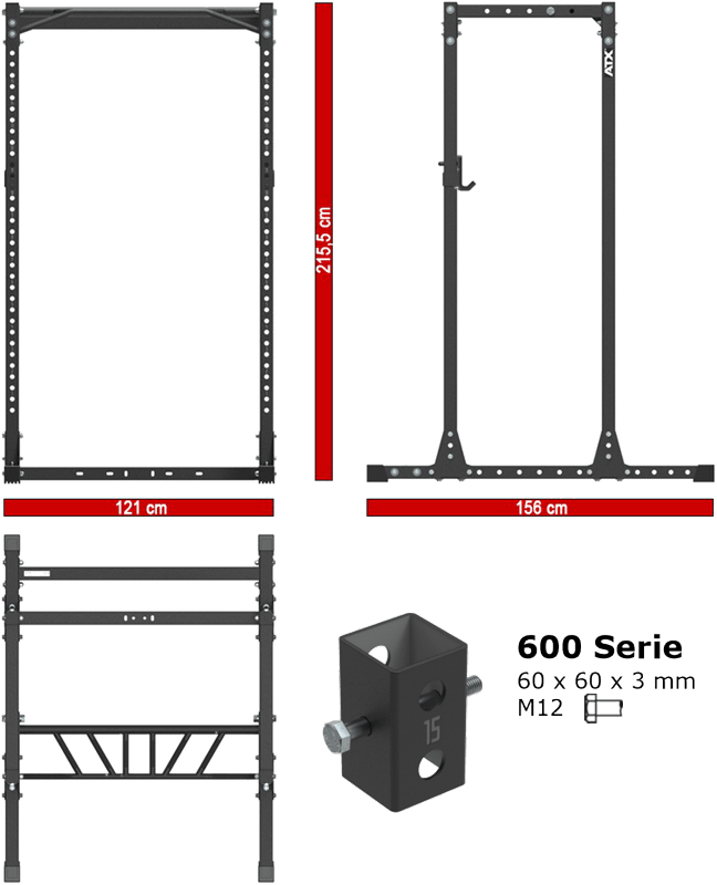 ATX-PRX-650-CFG | wymiary gabarytowe klatki treningowej