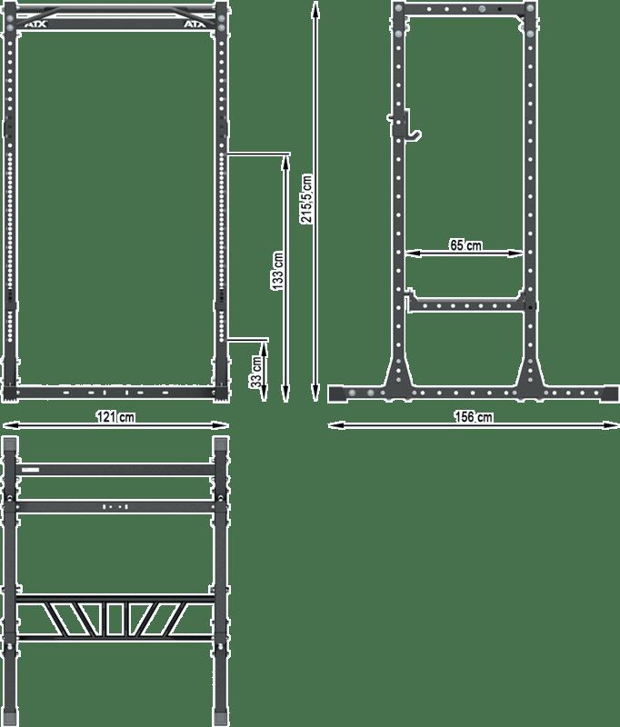 ATX-PRX-655SD-200 | wymiary gabarytowe klatki treningowej