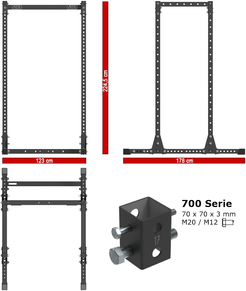 ATX-PRX-750-CFG | wymiary gabarytowe klatki treningowej