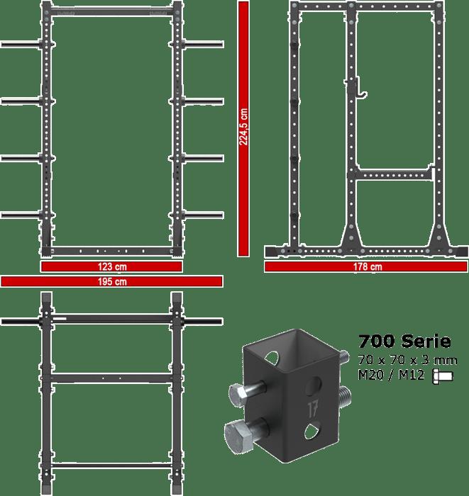 ATX-PRX-750-EXT-SET-200 | wymiary gabarytowe klatki treningowej