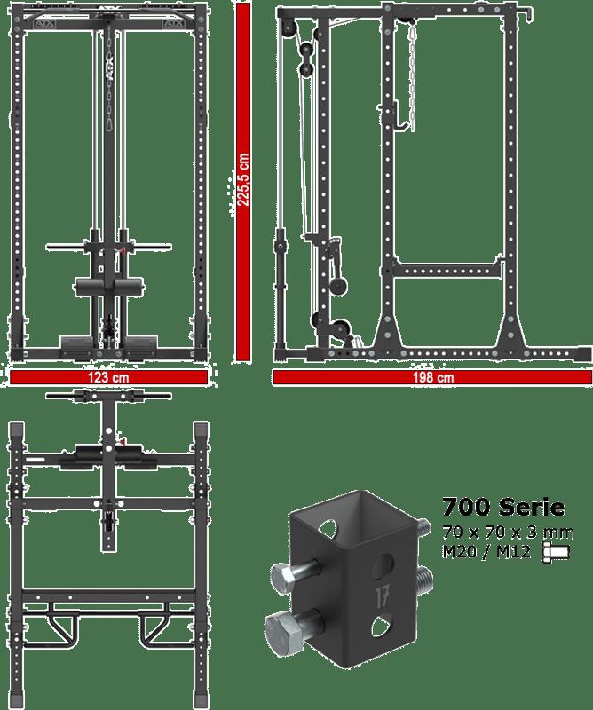 ATX-PRX-750-SET-140   stacja treningowa z wyciągiem linowym plate load
